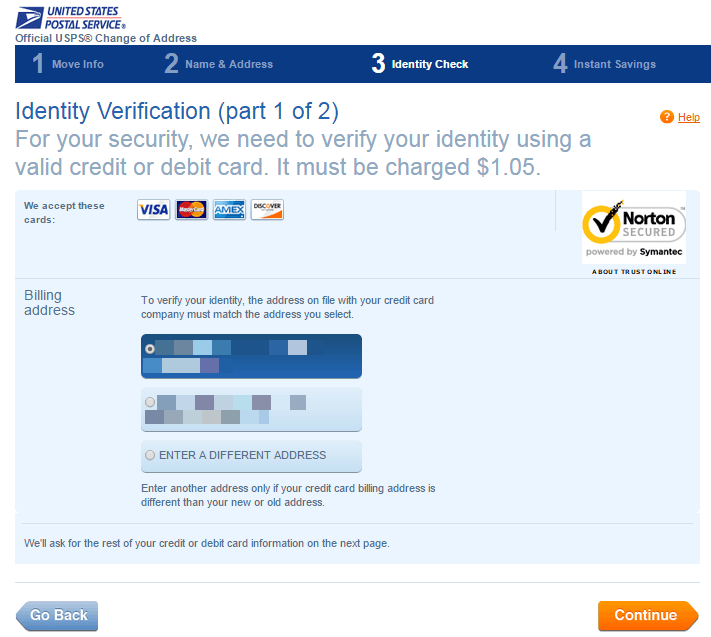 Identity Verification Part I for Post Office Address Change